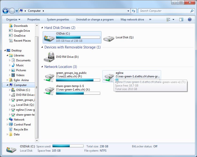 Windows 7 – ISG D-HEST   ETH Zurich